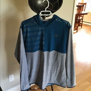 NEW BALANCE GREY AND BLUE HOODIE